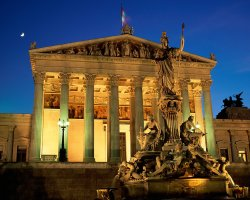 January Holiday, Vienna, Austria, Parliament Building Athene Pallas Fountain