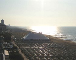 Lido di Jesolo, Italy, Beach overview at sunset