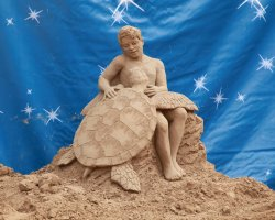 Lido di Jesolo, Italy, Sand sculpture Trutle and a Kid