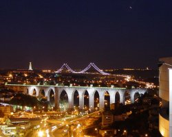 Lisbon, Portugal, City panorama at night