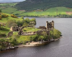Loch Ness, Scotland, Europe, Castle lake panorama