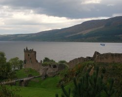 Loch Ness, Scotland, Europe, Lake view with castle
