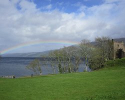 Loch Ness, Scotland, Europe, Rainbow over the lake