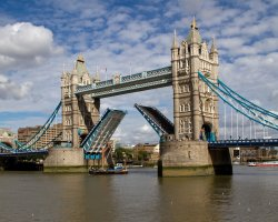 London Attraction Holiday, Tower Bridge, London, United Kingdom, Side view