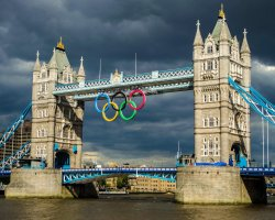 London Attraction Holiday, Tower Bridge, London, United Kingdom, Olympic signs