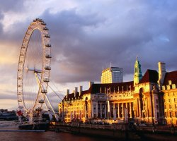 London, United Kingdom, London Eye at evening