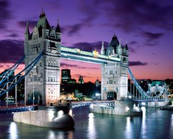 London, United Kingdom, Tower-Bridge at evening