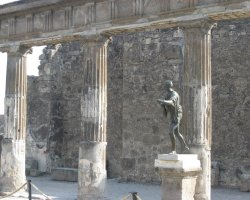 Lost Cities Attraction, Pompeii, Italy, Column and statue ruins