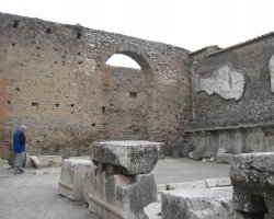 Lost Cities Attraction, Pompeii, Italy, Gray brick arch decorated