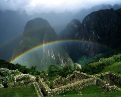 Lost Cities Attraction, Machu Picchu, Peru, Raindbow over the ruins