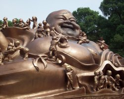 Lucky Destinations, China, Buddha laughing statue upview