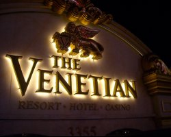 Luxury Holiday, Las Vegas, USA, The Venetian Hotel, Sign by night