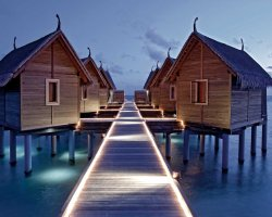Luxury Hotels Holiday, Maldives, Asia, Constance Moofushi, Resort suite pontoon at night