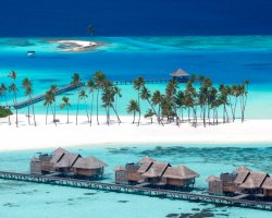 Luxury Hotels Holiday, Maldives, Asia, Gili Lankanfushi, Resort aerial view