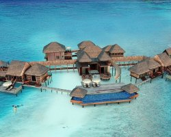 Luxury Hotels Holiday, Maldives, Asia, Gili Lankanfushi, Suite aerial view