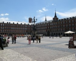 Madrid, Spain, City square at sunny day