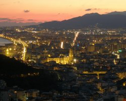 Malaga, Spain, City view at night