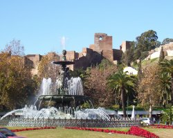 Malaga, Spain, Gibralfaro Castle fountain