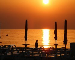 Mamaia, Romania, Sunrise and beach resot waiting