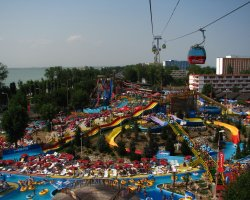 Mamaia, Romania, View of Aqua Magic from Telegondola