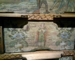 Maribor, Slovenia, Chest of drawers with paintings inside the castle