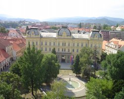 Maribor, Slovenia, City park and rooftops