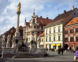 Maribor, Slovenia, City square with statue