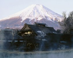 Mount Fuji, Japan, Base view village house