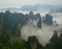 Mountain Holiday, China, Asia, Tianzi mountains, Under the clouds