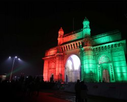 Babel Tower Holiday, India, National Flag colors projection