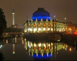 Bode Museum, Berlin, Germany, View by night