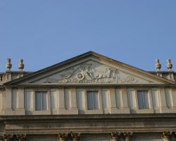 Music Lovers Destinations, Milan, Italy, La Scala Opera House front detail