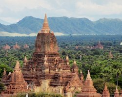 Mystic Holiday, Myanmar, Asia, Temples of Bagan, Temple panoramic view