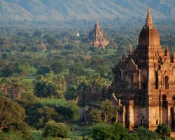 Mystic Holiday, Myanmar, Asia, Temples of Bagan, Panoramic overview