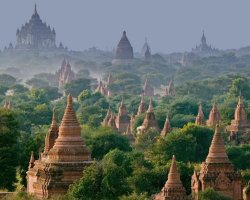 Mystic Holiday, Myanmar, Asia, Temples of Bagan, Panoramic view