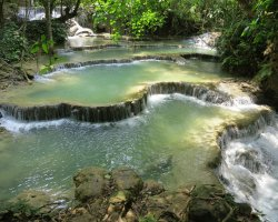 Dangerous Natural Pool Holiday, Tat Kuang Si Waterfall, Laos, Pools overview