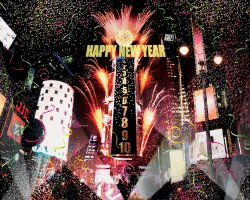 New Year Destinations, New York, USA, Time Square and confetti