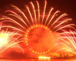 New Year Destinations, London, UK, The Eye is on fire