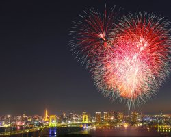 New Year Destinations, Tokyo, Japan, Fireworks over Odaiba