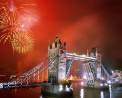 New Year Destinations, London, UK, Bridge and fireworks