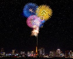 New Year Destinations, Tokyo, Japan, Fireworks above the Tokyo Tower