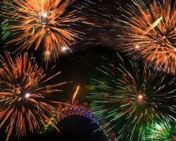 New Year Destinations, London, UK, Fireworks above The Eye