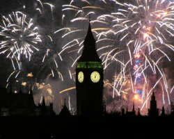 New Year Destinations, London, UK, Fireworks above the Big Ben