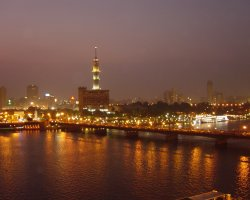 New Year Holiday, Cairo, Egypt, City lit in the night