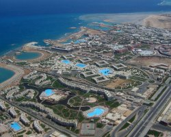 New Year Holiday, Hurghada, Egypt, Sea resort aerial view