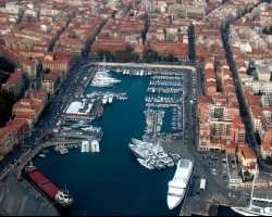 Low Budget Vacation, Nice, France, City port aerial view