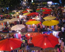 Night Markets, Night Bazaar Chiang Mai, Thailand, Marked by sunset