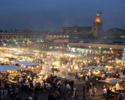 Night Markets, Djemaa elFna, Marrakesh, Morocco, Market night overview
