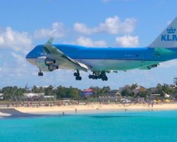 Oddest Beach Holiday, Maho Beach, Saint Martin Island, KLM Airbus landing
