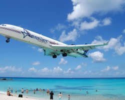 Oddest Beach Holiday, Maho Beach, Saint Martin Island, AmeriJet landing